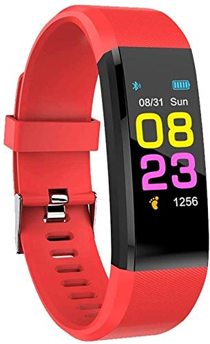 Reloj inteligente con monitor de sueño, podómetro, impermeable, con monitor de sueño, pulsera deportiva, calorías, SMS/recordatorio de llamadas para teléfono inteligente Android (color negro), rojo