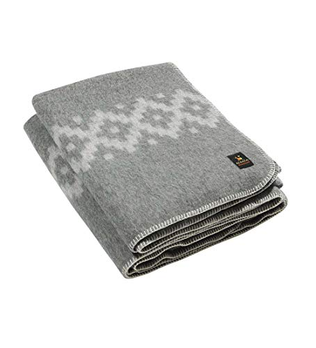 Thick Alpaca Wool Blanket Heavyweight Alpaca Wool Blanket Camping Outdoors Indoors Soft Peruvian Alpaca Wool Blankets That Come in Twin Queen King Size Ethnic Design (Gray - Silver Gray Design, King)