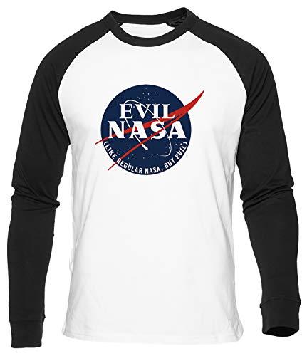 Evil NASA Camiseta De Bisbol Hombre Mujer Unisex Blanca Algodon Organico Baseball T-Shirt Men's Women's White
