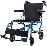 HZYDD Sedia a rotelle Leggera Pieghevole for l'anziano Piccolo Scooter Portatile Multi-Funzione Multi-Funzione, Maniglia del Freno, con Borse della Spesa, Rosso, Nome a Colori: Blu (Color : Blue)
