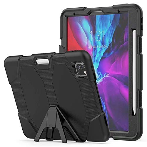 RZL PAD & TAB cases For iPad Pro 11 2nd Generation 2020, Kids Safe Rubber Silicone Shockproof Armor KickStand Case for iPad 11 2020 (Color : All Black)