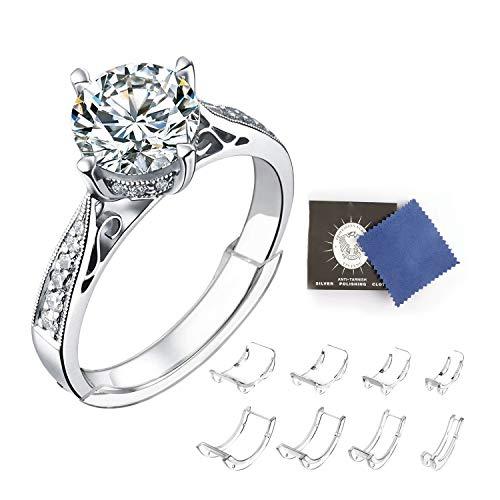 BaiJ Ringgrößeneinsteller,8er Set Unsichtbar Ring Sizer mit Schmuckpoliertuch Passend Ring Verkleinern für Ringe Fit 1 mm/2 mm/3 mm/4 mm/5 mm/6 mm/7 mm/8 mm