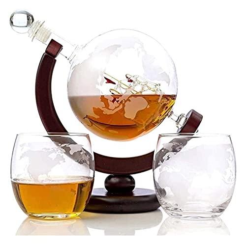 KDHSD Decantadores Whiskey Decanter Whiskey Glasses Whisky Decanter Set Grabado Decanter para Vino Tinto, Licor, Borbón, Vodka, con 2 Gafas, Accesorios para Bares para Hombres