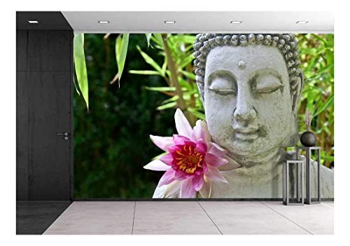 wall26 - The Buddha with Lotus Flower - Removable Wall Mural | Self-Adhesive Large Wallpaper - 100x144 inches