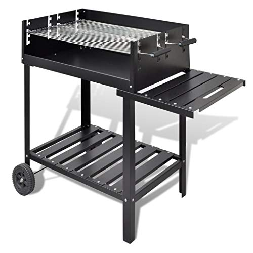 vidaXL BBQ Stand Charcoal Barbecue 2 Wheels Outdoor Pedestal Grill Smoker