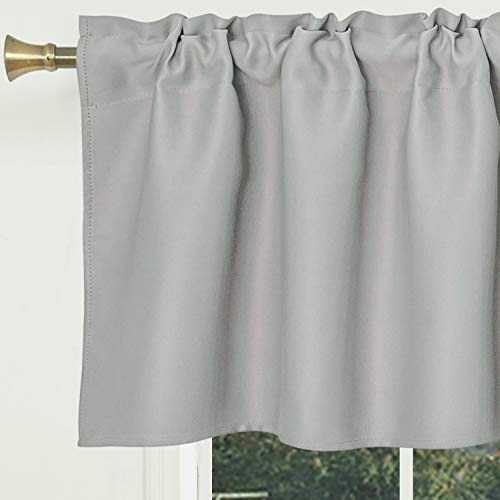 S DOLLCT Light Grey Blackout Curtain Valances,Thermal Insulated Short Waterproof Curtain Panel, Small Half Window Valances for Kitchen (42 X 15 Inches,1 Piece)