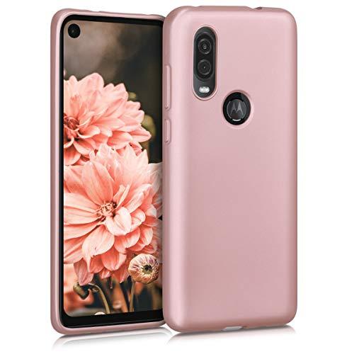 kwmobile Funda Compatible con Motorola One Vision - Carcasa móvil de Silicona - Protector Trasero en Oro Rosa Metalizado