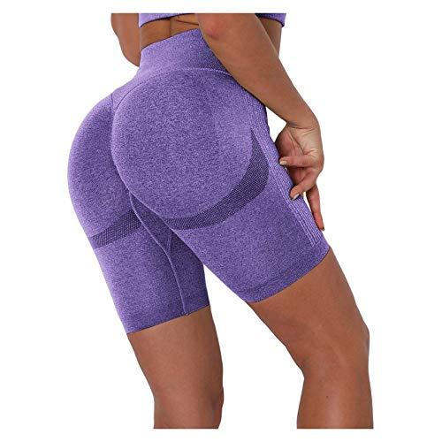 Leggings corti da donna Push Up Yoga opachi, per fitness, a vita alta, a vita alta, con controllo della pancia, aderenti, da donna, Donna, Lila24, S