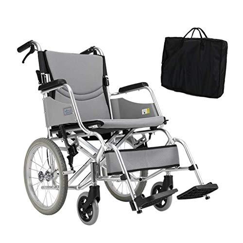 SUNBJ Kellner Rollstuhl, faltbar Leichtgewichtrollstuhl mit Rollstuhl Aufbewahrungstasche Doppelbremse Nicht aufblasbaren Vollgummireifen for Behinderte/Ältere