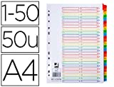 Separador numerico q-connect plastico 1-50 juego de 50 separadores din a4 multitaladro.