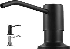 Becomrock Soap Dispenser for Kitchen Sink, Built in Sink Soap Dispenser Lotion Dispenser with 17 Ounce Bottle, Stainless Steel Sink soap Dispenser, Black