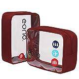 Eono by Amazon - Beauty Case da Viaggio Clear Borsa da Viaggio Impermeabile Cosmetici Trousse Trasparente Toiletry Bag Kit da Aereo per Liquidi Sacchetti di Trucco per Uomini e Donne, Bordeaux, 2 Pcs