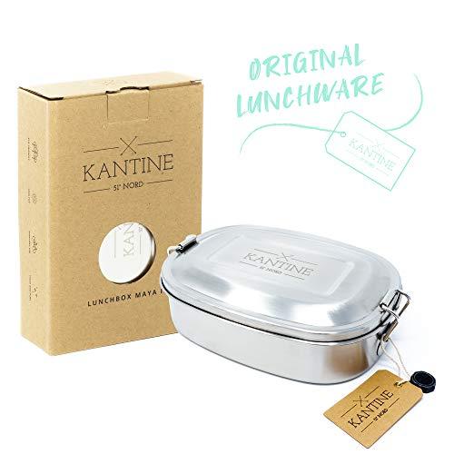 Kantine 51° Nord ® Lunchbox Maya III | 500ml Edelstahl Brotdose für Kinder mit Fester Trennwand und 3 Fächern