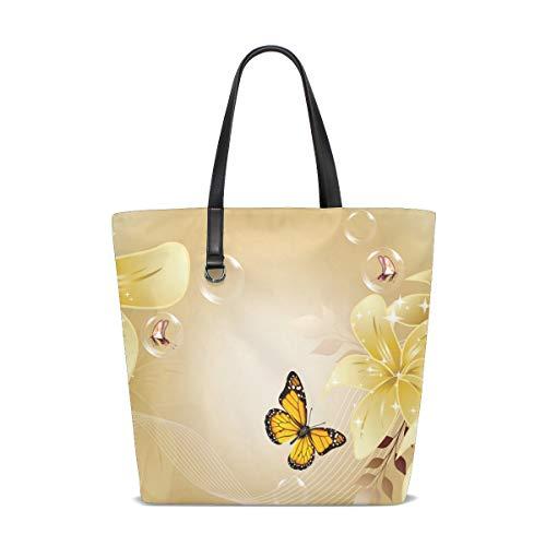 LUPINZ Damen Handtasche Leder mit Schmetterlingen Gelb