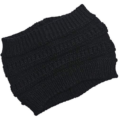 Mujeres Chunky Crochet Hecha de Punto, Alto Messy Etra Ancho Headwrap Sólido Color Stretche Beanie Turban Vacío Top Top Ear Warmer Gifts TINGG (Color : BK)
