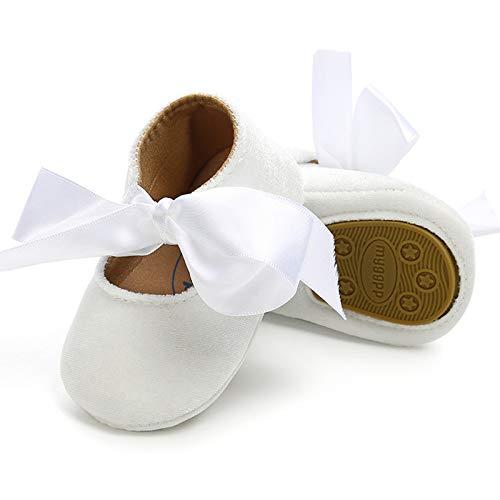 KIDSUN Baby Girl Shoes Mary Jane Ballerina Shoes Bow Princess Dress Wedding Shoes White Baby Girl Baptism Shoes