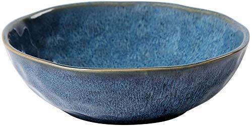 LanGuShi Panzi227 Tazón de cerámica Azul Queámica Creativa Creative Bowl Placa de Ensalada Inicio Sopa Superficial Italiana Vajilla 18x5.7cm Tazón Regalo