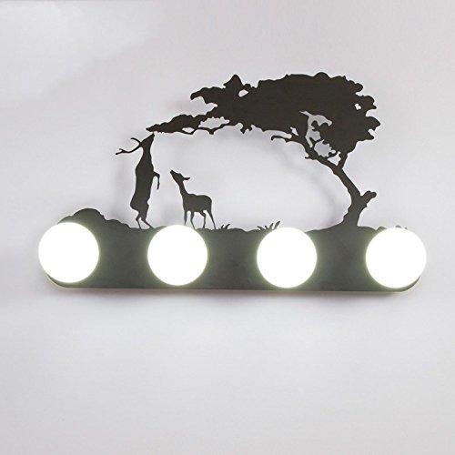 Retro mur industriel lampe lumière, le salon la chambre baignoire personnalité couloir avant miroir lampe avec ampoule, 60×30cm, deux cerfs,5 Watts ampoule LED lumière blanche