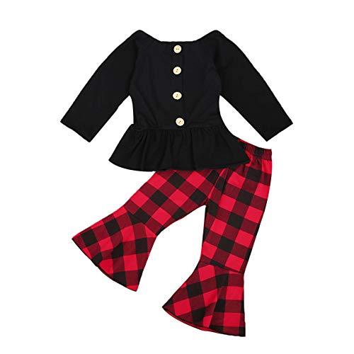 Conjunto de roupas infantis para bebês meninas com ombros de fora camisa tubo + calça de sino verão outono, Christmas Outfit Baby Girls Clothes, 2-3T