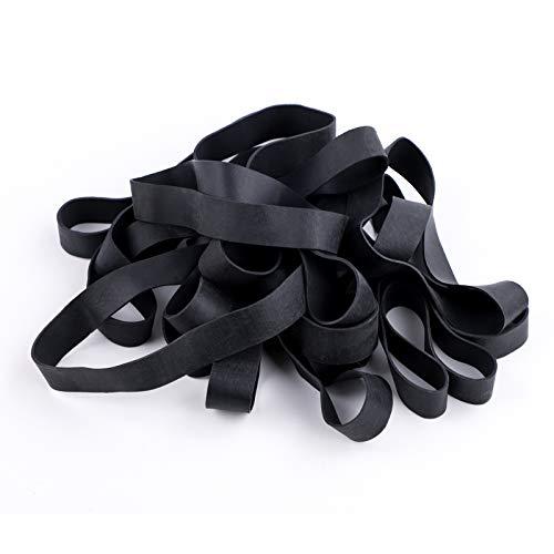 Gomas elásticas 20 piezas grandes gruesas elásticas negro, resistentes para papeleras, carpetas, archivadores, para suministros de oficina, hogar, escuela, banco, resistente, duradero, ancho