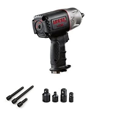 AIRCAT 1150 Killer Torque 1/2-Inch Impact Wrench with TEKTON 4957 Impact Adapter, Reducer, and Extension Bar Set