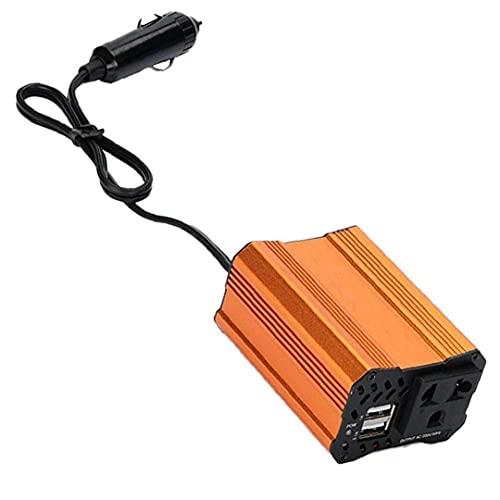 Tuimiyisou Adaptador de Cargador de vehículo de inversor de automóviles Automotriz 12V a 110V 220V Convertidor de CA con Doble Naranja USB