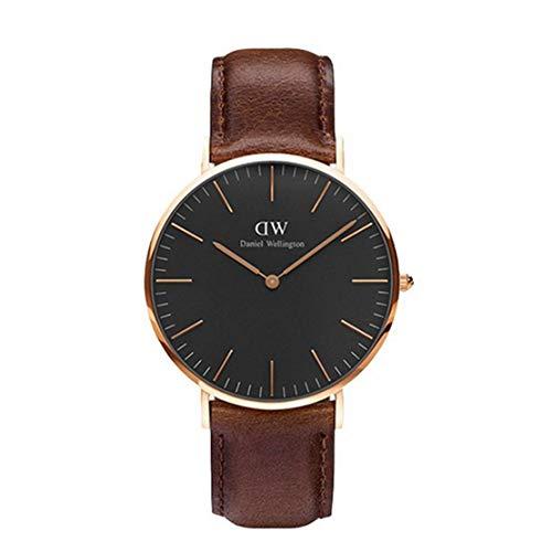 DANIEL WELLINGTON Herren-Armbanduhr Classic Black Bristol mit braunem Lederband und Rosé 40 mm - DW00100125