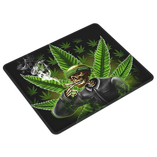 Gaming-Mauspad mit grünem Marihuana-Blatt, mit Totenkopf, rechteckig, rutschfeste Gummiunterseite, für PC, Computer, Laptop, Tastatur