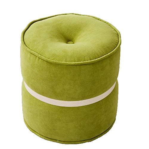 LIGUANGWEN-dengzi Hocker Chic Exklusives Holz Fußbank Osmanische Runde Pouffe Hocker Holzbein Padded (Farbe: Rosa Größe: 34 * 32cm) Schemel (Color : Green, Size : 34 * 32cm)