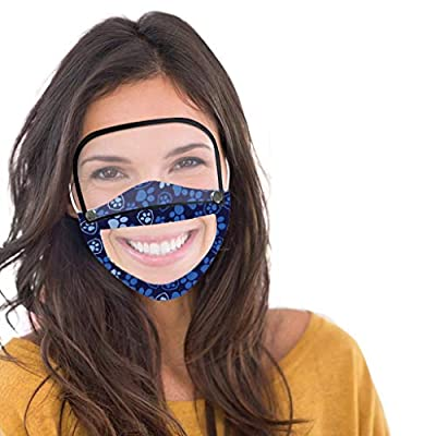 Luckylin 1/3Pcs Adults Dustproof Outdoor Face_Protective with Eyes_Shield(Detachable), Reusable and Washable Face Bandanas, Visible Expression, for Deaf and Hard of Hearing People