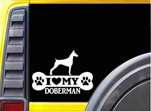 Lplpol Lustiger 20,3 cm Vinyl-Aufkleber Dobermann Pinscher Knochen Aufkleber Rettungshund Aufkleber Stoßstange Aufkleber für Fenster, Autos, LKW, Laptops, Wasserflasche