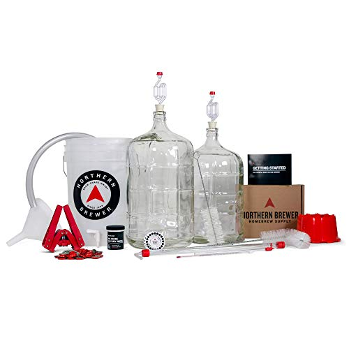 Northern Brewer Deluxe Home Brewing Equipment Starter Kit - Chinook IPA Beer Brewing Recipe Kit Glass Carboys - Glass Carboys Fermenter with Equipment For Making 5 Gallons Of Homemade Beer