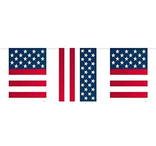 Folat Flaggengirlande mit USA-Flaggen, Party-Dekoration, 10 Meter lang