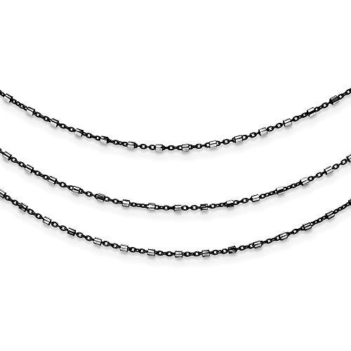Plata de ley de Rutenio-en multi-cadena pulsera - cm 19,05 - JewelryWeb