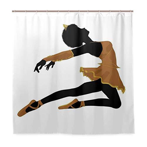BEITUOLA Duschvorhang 180 x 180cm,Posing Ballerina Girl Silhouette mit Tutu Pointe Schuhe & Tiara Outfit,Wasserdicht Polyester Textil Stoff Badewannevorhang Shower Curtain