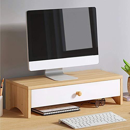 Gaohm Soporte para computadora con cajón de Almacenamiento, Soporte Vertical para Monitor de bambú, Soporte para Monitor de Escritorio, para computadora portátil Office Home-A 50x20x13cm (20x8x5inch)