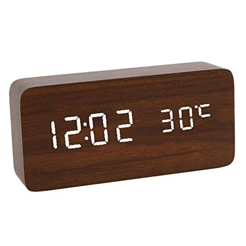 TEHWDE Houten elektrische wekker nachtnet aangedreven spraakbesturing LED digitale thermometer achtergrondverlichting Retro Glow Clock tabel Luminous wekker White Number