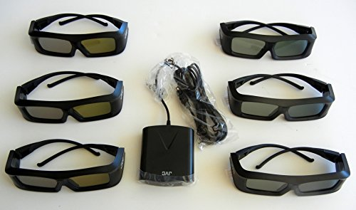 JVC Pk-ag1-b Glasses (SIX) and JVC Emitter PK-em1 for 2X Brightness with all JVC projectors and Silver screen