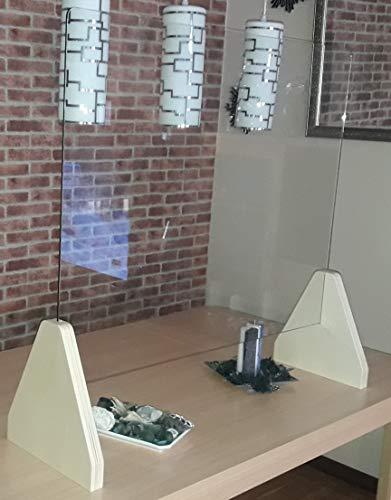 Mampara Mostrador Cristal 108x90x29 Vidrio Seguridad Templado 6mm. Madera contrachapada 30mm. 108x90x29 Natural