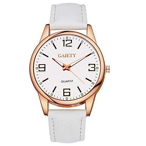 GAIETY Reloj de pulsera de moda para mujer, elegante esfera redonda, bisel dorado, cara blanca, 7 colores, correa de PU, reloj de cuarzo para mujer