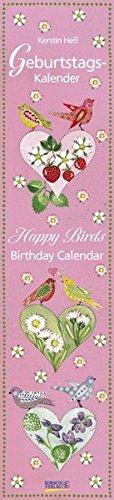 Geburtstags-LP Happy Birds i.w.: Immerwährender Wandkalender. Format 11 x 48 cm.