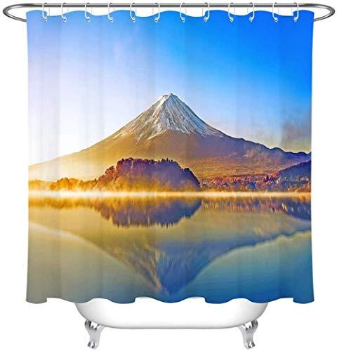 Douchegordijn Sneeuw Mountain Lake Sunshine polyester stof waterdicht en meeldauw 3D Hd afdrukken huisdecoratie 180x 200cm 12 haken