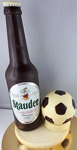 04#022621 Schokolade, Bierflasche, in ORIGINAL Größe, mit Fußball, Stauder Bier, Bierflasche aus Schokolade, Schokoladenbierflasche, echte Etiketten