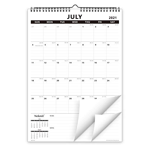 Nekmit 2021-2022 Academic Yearly Monthly Wall Calendar, Wirebound Calendar for Home Schooling Plan & Schedule, Ruled Blocks, 17 x 12 Inches, Runs From July 2021 to December 2022, Black