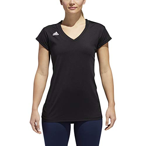 adidas Camiseta de Voleibol Hi-Lo con Manga Casquillo para Mujer, Mujer, S1648WVB004, Negro, M-L