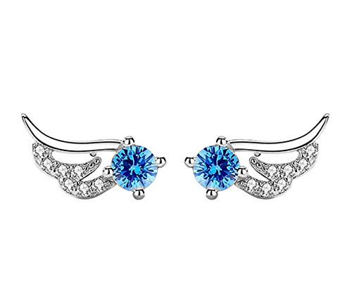 Christmas Gifts for Her, 925 Sterling Silver Angel Wings, Blue Zircon Earrings, Santa Gifts for Ladies and Girls