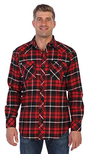 Gioberti Men's Western Brushed Flannel Plaid Checkered Shirt w/Snap-on Button, Red/Black/White Highlight, Medium