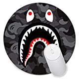 Round Gaming Mouse Pad Creative Custom Non-Slip Mouse Mat-bape Shark Logo