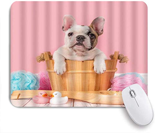 GEEVOSUN Mouse Pad Bulldog Funny Dog Cute Cute English Bulldog Pug in Bathtub with Toy Rubber Duck for Kids Customized Art Mousepad Non-Slip Rubber Base for Computers Laptop Office Desk Accessories