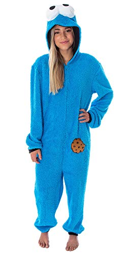 Sesame Street Adult Unisex Cookie Monster Costume Sherpa One-Piece Union Suit Pajama Onesie For Men And Women (2X/3X)